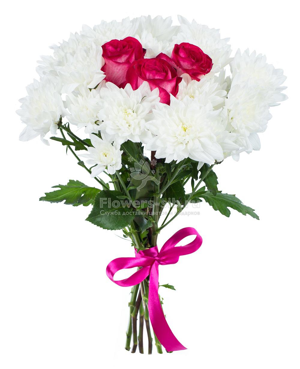 Как сделать букет из роз и хризантем фото